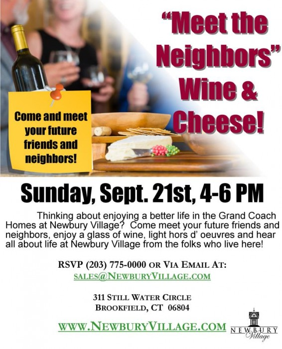Meet the Neighbors - Wine and Cheese - September 21st, from 4-6pm